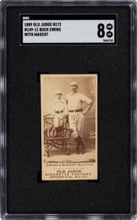1887-90 N172 Old Judge Buck Ewing with Mascot #149 SGC NM-MT 8--None Superior!