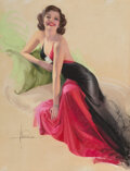 Works on Paper, Rolf Armstrong (American, 1889-1960). Invitation, Calendar illustration, 1948. Pastel on paper. 38 x 28-1/2 inches (...
