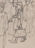 Works on Paper, Norman Rockwell (American, 1894-1978). Their Encouragement of Good Deeds, Boy Scouts study. Pencil on paper. 5-1/2 x 4 i...
