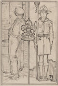 Works on Paper, Norman Rockwell (American, 1894-1978). Non-Scout and Disciplined scout, Boy Scouts Study. Pencil on paper. 5 x 3-3/8 inc...