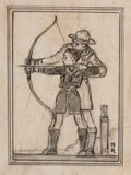 Works on Paper, Norman Rockwell (American, 1894-1978). Archery Lesson, Boy Scouts Study. Pencil on paper. 3-3/4 x 2-7/8 inches (9.5 x 7....