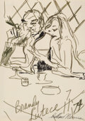 Works on Paper, LeRoy Neiman (American, 1921-2012). Brandy at Lutece, 1974. Ink on paper. 7 x 7 inches (17.8 x 17.8 cm) (sheet). Signed,...