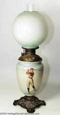 """Golf Collectibles:Ceramics/Glass, Uncommon """"Gone With The Wind"""" lamp circa 1895-1900. Three ..."""