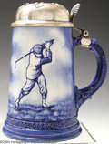 Golf Collectibles:Ceramics/Glass, Pre-Lenox porcelain stein with original sterling lid and ...
