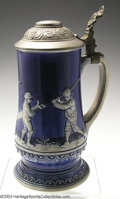 Golf Collectibles:Ceramics/Glass, Uncommon Gerz stoneware stein in cobalt blue with pewter lid ...