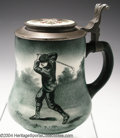 Golf Collectibles:Ceramics/Glass, Uncommon pear-shaped O'Hara Dial stein with pewter lid, ...