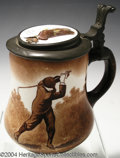 Golf Collectibles:Ceramics/Glass, Pear-shaped O'Hara Dial stein with pewter lid, thumb rest ...