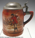 Golf Collectibles:Ceramics/Glass, Semi-porcelain stein with pewter lid, thumb rest and hand ...