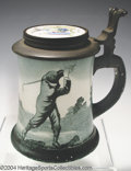 Golf Collectibles:Ceramics/Glass, O'Hara Dial semi-porcelain stein with pewter lid, thumb rest ...