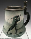 Golf Collectibles:Ceramics/Glass, Pear-shaped semi-porcelain O'Hara Dial stein with pewter lid ...