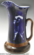 Golf Collectibles:Ceramics/Glass, Rare Royal Doulton Morrisian Ware pitcher in cobalt blue and ...