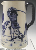 Golf Collectibles:Ceramics/Glass, Rare Royal Doulton Morrisian Ware pitcher in ivory with 17th ...