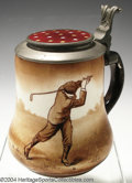 Golf Collectibles:Ceramics/Glass, Pear-shaped semi-porcelain O'Hara Dial stein with pewter lid,...