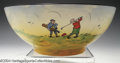 Golf Collectibles:Ceramics/Glass, Crown Ducal bowl with humorous, hand painted golf scenes. ...