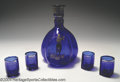 Golf Collectibles:Ceramics/Glass, Triangular glass carafe in cobalt blue with sterling overlay ... (5items)