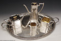 Golf Collectibles:Sterling/Silver Plate/Metals, Extremely rare five-piece Sheffield tea and coffee set with ... (5 items)