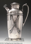Golf Collectibles:Sterling/Silver Plate/Metals, Silver plate cocktail shaker. Manufactured by the Medford ...