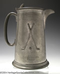 Golf Collectibles:Sterling/Silver Plate/Metals, Large pewter tankard manufactured by the Gentry Pewter ...