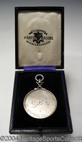 Golf Collectibles:Medals/Jewelry, Boxed silver medal. With crossed club decoration won by R. ...