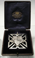 Golf Collectibles:Medals/Jewelry, Large square silver medal in its original box. The crest ... (2items)