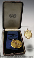 Golf Collectibles:Medals/Jewelry, Two interesting gold medals. Included is a boxed 10K gold ... (3items)