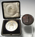 "Golf Collectibles:Medals/Jewelry, Two large round medals. Included is a boxed 2"" silver ... (3 items)"