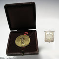 Golf Collectibles:Medals/Jewelry, Two interesting medals. Included is a boxed bronze medal ... (3items)