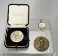 Golf Collectibles:Medals/Jewelry, Three interesting medals. Boxed silver medal from the ... (4 items)
