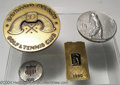 """Golf Collectibles:Medals/Jewelry, Four medals and badges. Included are a round 2 3/4"""" bronze ... (4items)"""