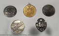Golf Collectibles:Medals/Jewelry, Five medals and pins. Included is a round 15K gold medal ... (5items)