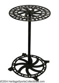 Golf Collectibles:Miscellaneous, Standing cast iron display rack on wheels Black paint with ...