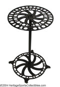 Golf Collectibles:Miscellaneous, Standing cast iron display rack on wheels. Black enamel ...
