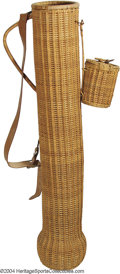 Golf Collectibles:Bags/Flagsticks/Clothing, Antique wicker golf bag with original wicker ball pouch, ...