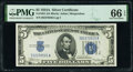 Small Size:Silver Certificates, Fr. 1651 $5 1934A Silver Certificate. PMG Gem Uncirculated 66 EPQ.. ...