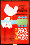 Miscellaneous Collectibles:General, 1969 Woodstock Concert Poster Signed by Artist Arnold Skolnick With Frame Made out of Barnboard Found Behind Woodstock Stage....