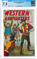 Golden Age (1938-1955):Western, Western Gunfighters #25 (Atlas, 1957) CGC VF- 7.5 White pages....