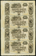 Obsoletes By State:Louisiana, New Orleans, LA- Canal Bank $10-$10-$10-$10 18__ Uncut Sheet Crisp Uncirculated.. ...