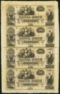 Obsoletes By State:Louisiana, New Orleans, LA- Canal Bank $20-$20-$20-$20 18__ Uncut Sheet Very Fine.. ...