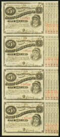 """Obsoletes By State:Louisiana, (Baton Rouge), LA- State of Louisiana """"Baby Bond"""" $5-$5-$5-$5 1874-1876 Uncut Strip of Four Crisp Uncirculated.. ..."""