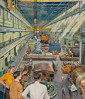 Mainstream Illustration, Herb Mott (American, b. 1923). The Factory. Gouache on board. 24 x 20-1/2 inches (61.0 x 52.1 cm). Signed lower right. ...