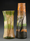 Glass, Two Legras Acid Etched and Enameled Glass Landscape Vases, circa 1910. Marks: Legras. 11 inches (27.9 cm) (t... (Total: 2 Items)