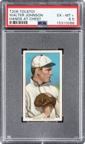 Baseball Cards:Singles (Pre-1930), 1909-11 T206 Tolstoi Walter Johnson (Hands At Chest) PSA EX-MT+ 6.5 - Pop One, None Higher for Brand! ...