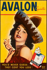 """Avalon Cigarettes (c. 1940). Very Fine. Advertising Poster (10.25"""" X 15.5""""). Advertising"""