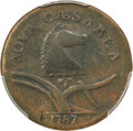 1787 New Jersey Copper, Sprig Above Plow, M. 40-b, W-5200, High R.5, Fine 12 PCGS....(PCGS# 763335)