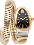 Estate Jewelry:Watches, Bvlgari Lady's Rose Gold, Stainless Steel Serpenti Watch . ...