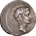 Ancients:Roman Imperial, Ancients: Octavian, as Sole Imperator (30-27 BC). AR denarius (19mm, 3.85 gm, 8h). NGC XF 4/5 - 3/5, edge marks....