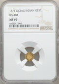 California Fractional Gold , 1875 25C Indian Octagonal 25 Cents, BG-784, High R.5, MS66 NGC. NGC Census: (2/0). PCGS Population: (1/0). ...