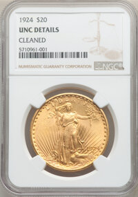 1924 $20 -- Cleaned -- NGC Details. Unc. Mintage 4,323,500. From The Selman Family Collection. ...(PCGS# 9177)