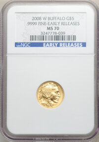 2008-W Gold Buffalo Set, Early Releases, MS70 NGC. Includes: $5 tenth-ounce, $10 quarter-ounce, $25 half-ounce, and $5...