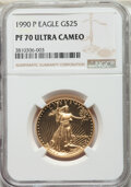 1990-P $25 Half-Ounce Gold Eagle PR70 Ultra Cameo NGC. NGC Census: (984). PCGS Population: (217). CDN: $3,000 Whsle. Bid...